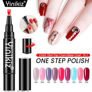 9 Colors Set One Step Nail UV Gel Polish Pen DIY Manicure Tool Kit Top Base Coat