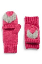 TUCKER + TATE 132086 Heart Knit Convertible Mittens Pink- Grey One Size