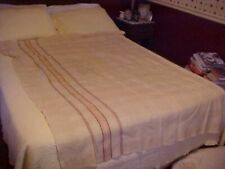 VINTAGE BEIGE WOOL BLANKET WITH BROWN STRIPES DESIGN AS IS
