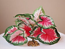 "Artificial Silk Aquarium PLANT w/ STONE BASE 5-6"" MD Pink & Green Caladium Bush"