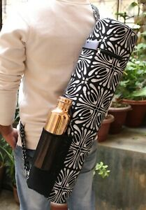Indian Black & Silver Yoga Mat Bags With Free Copper 1 Ltr. Pure Water Bottle