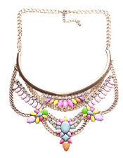 Colour Splash- Layered /  Flower Gem Feature Statement Gold Bib Necklace(Ns15)