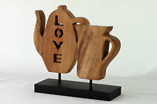 Wooden Love letters Teapot and Cup Ornament Statue carving Handmade Acacia Wood