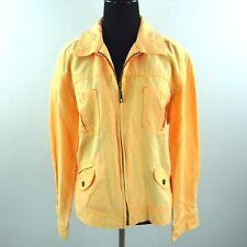 J Jill Linen Cotton Jacket Womens Medium Orange Zip Light Coat