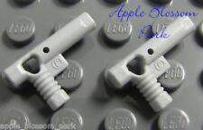 NEW Lego Lot/2 Minifig GRAY HAND GUNS -Police Agent Gun Pistol Weapon Nozzle Set