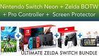 Nintendo Switch Console Neon + Legend of Zelda BOTW + Pro Controller BUNDLE