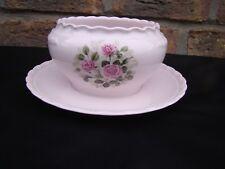Sauciere rosa Hutschenreuther Porcelaine Rose mit Rosendekor