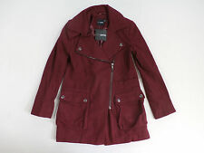 ASOS Petite Women's Wool Blend Biker Coat w/ Pockets - Berry UK 2 US 00 NWT $125