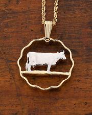 """Guernsey Cow Pendant ,Handcut Guernsey Cow Coin 3/4""""Diameter ( # 153 )"""