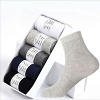 5 Pairs New Summer Mens 100% Cotton Pure Color Soft Solid Casual Sports Socks