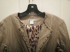 Alberto Makali Womens Size M Polyurethane Faux Leather Look Jacket Leopard Lined