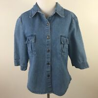 Womens XL Denim Top Button Front Short Sleeve Cotton Size 16 Casual