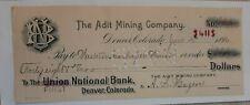 Vintage 1896 ADIT MINING COMPANY Denver Col Check for 48.30 First National Bank
