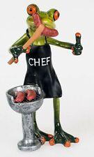 Dekofigur lustiger Frosch Dekofrosch mit Grill, hellgrün, 17 cm