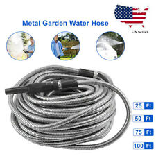 25/50/75100ft Flexible Stainless Steel Metal Garden Water Hose Pipe with Nozzle