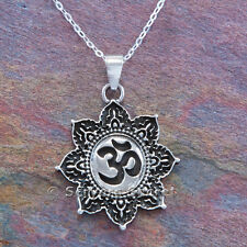 "flower Pendant Sterling Silver 18"" 925 Om necklace Aum Hindu Yoga charm Lotus"