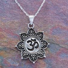 "Om necklace Aum Hindu Yoga charm Lotus flower Pendant Sterling Silver 18"" 925"