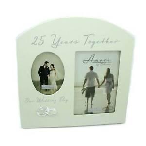 "Amore Silver 25th Anniversary Wedding Gift Cream Photo Frame - 6""x4"""