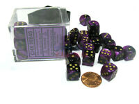 Gemini 12mm D6 Chessex Dice Block (36 Dice) - Black-Purple with Gold Pips
