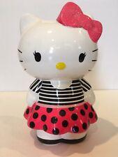 Hello Kitty Sanrio 9 inch Ceramic Piggy Coin Bank Pink Black White