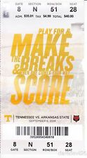 2014 Tennessee Vols vs Arkansas State Red Wolves NCAA Football Ticket Stub