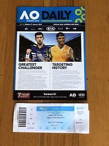 2019 Australian Open Tennis Mens Final Program + Ticket Djokovic v Nadal