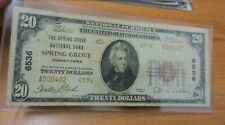 1929 $20 SPRING GROVE, PA National Bank Note (Charter #6536) Low Serial #
