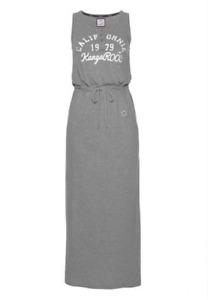 KANGAROOS Damen Maxikleid Strandkleid lang Shirt Sweatkleid grau 38 40 42 44 46