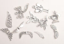 66PCS Antiqued Silver Metal Fairy Charms Angel Wing Spacer Beads