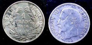 1 FRANC NAPOLEON III TETE NUE 1856 D LYON argent 4,79 GRAMMES