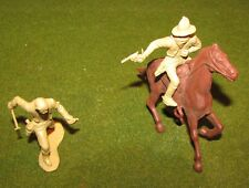 Marx 1950's Cowboy Bandit on Horse & Branding Iron Western Town play set