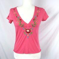 JWLA Johnny Was Los Angeles pink Floral Embroidered V-Neck Knit Top size XS