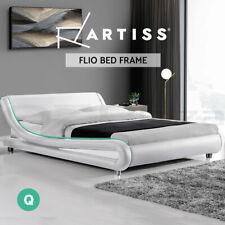 Artiss Bed Frame Queen Size Base Mattress Platform Leather Wooden FLIO
