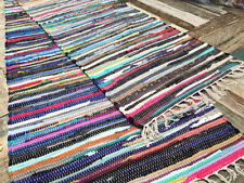 FAIR TRADE CHINDI RAG RUGS STRIPED LOOMED WOVEN RECYCLED COTTON MAT 120X180CM