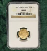 1922 B NGC MS 66 Switzerland GOLD 10 Francs Helvetia, Gem MS 66 Certified Coin