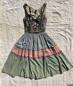 1930s 30s Velvet Corset Cotton Folk Costume