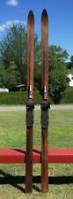 "GREAT OLD Weathered Wooden Skis 83"" Snow Skiis NICE WOOD GRAIN W@W!"