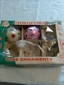 Vintage Glass Christmas Ornaments Poland lot of 2 original box