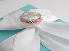 New Tiffany & Co Silver Pink Enamel Signature X Stacking Ring Band Size 6 Box
