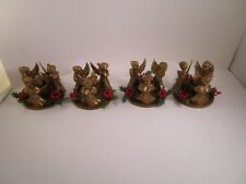 Vintage Lot of 4 Christmas Plastic Gold Angel Trio Candle Holders