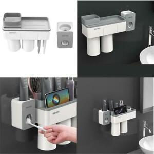 Toothbrush Holder Automatic Toothpaste Dispenser Wall Mount Bath Storage Rack