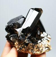 353g Natural Rare Beautiful Black QUARTZ Crystal Cluster Mineral Specimen