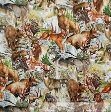 BonEful Fabric FQ Cotton Quilt Couger Moose Wolf Deer Buffalo Cabin Hunt Coyote
