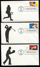 #2961-65 32c Recreational Sports Set of 5 FDC Kribbs Hand Painted Cachets FD5273