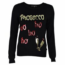 Womens Ladies GENUINE QUALITY Christmas Novelty Prosecco Xmas Thin Knit Jumper