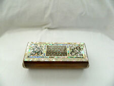 "Egyptian Inlaid Paua Mother of Pearl Pen Holder Box 7.25"" X 2.75"" # 623"