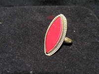 Vintage Rustic Long Red Glass Marquise with Silver Colored Metal Tiny Swirl Rim