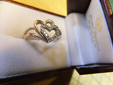 10k and 925 Sterling HEART - tiny Diamond,s  size 6