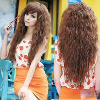 Fashion Top Long Cosplay Wavy Hair Wigs Sexy Party Womens Full Curly 3 Colors