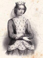 Lithographie XIXe Valentina Visconti Valentine de Milan Louis Ier d'Orléans